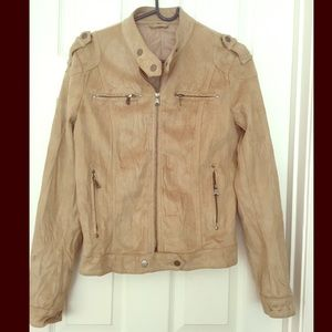 Moto bomber military faux microsuede tan jacket